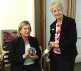 President Donna (right) with speaker Deborah Spizzoomen's DV Court Assistance Service, April 16